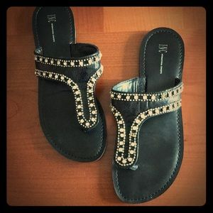 INC black sandals. 3 rhinestones missing.